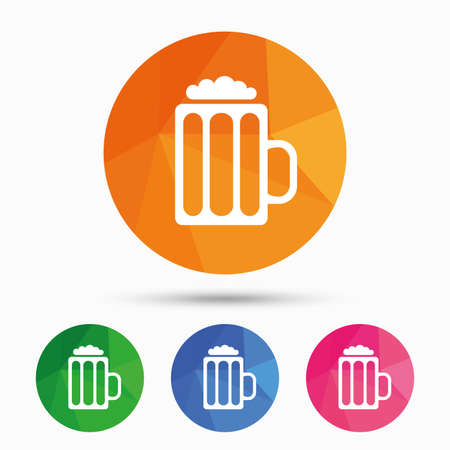 low glass: Glass of beer sign icon. Alcohol drink symbol. Triangular low poly button with flat icon. Vector Illustration