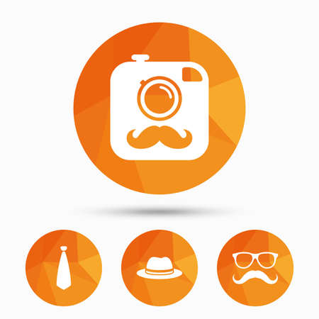 triangular eyes: Hipster photo camera with mustache icon. Glasses and tie symbols. Classic hat headdress sign. Triangular low poly buttons with shadow. Vector Illustration