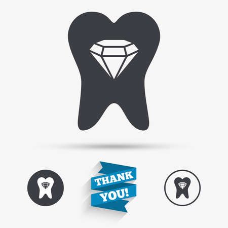 prestige: Tooth crystal icon. Tooth jewellery sign. Dental prestige symbol. Flat icons. Buttons with icons. Thank you ribbon. Vector