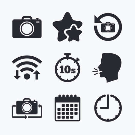 seconds: Photo camera icon. Flip turn or refresh symbols. Stopwatch timer 10 seconds sign. Wifi internet, favorite stars, calendar and clock. Talking head. Vector