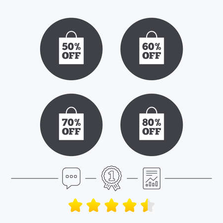 50 to 60: Sale bag tag icons. Discount special offer symbols. 50%, 60%, 70% and 80% percent off signs. Chat, award medal and report linear icons. Star vote ranking. Vector Illustration