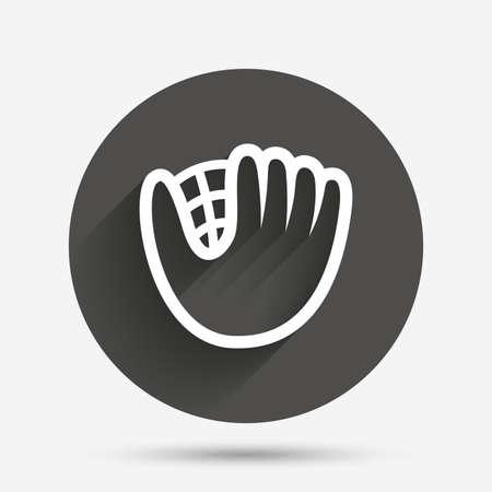 gant de base-ball ou le signe de gant icône. symbole Sport. Cercle bouton plat avec ombre. Vecteur Vecteurs