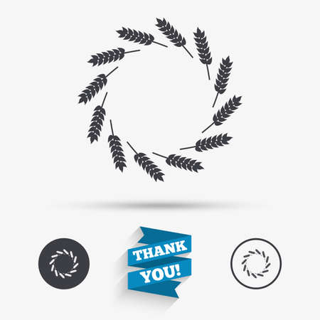 Agricultural sign icon. Wreath of Wheat corn. Gluten free or No gluten symbol. Flat icons. Buttons with icons. Thank you ribbon. Vector Illustration