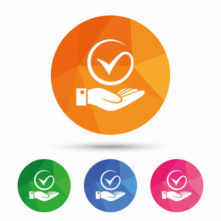 polls: Tick and hand sign icon. Palm holds check mark symbol. Triangular low poly button with flat icon. Vector