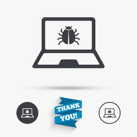 ultrabook: Laptop virus sign icon. Notebook software bug symbol. Flat icons. Buttons with icons. Thank you ribbon. Vector Illustration