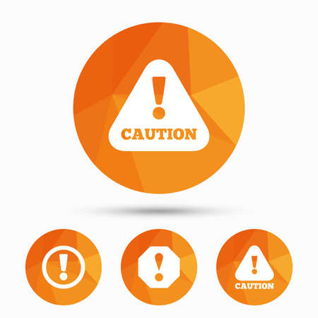 triangular warning sign: Attention caution icons. Hazard warning symbols. Exclamation sign. Triangular low poly buttons with shadow. Vector
