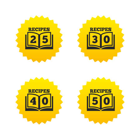 25 to 30: Cookbook icons. 25, 30, 40 and 50 recipes book sign symbols. Yellow stars labels with flat icons. Vector