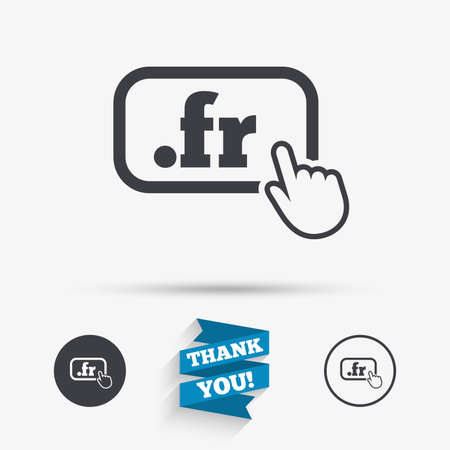 domain: Domain FR sign icon. Top-level internet domain symbol with hand pointer. Flat icons. Buttons with icons. Thank you ribbon. Vector Illustration
