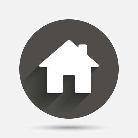 main: Home sign icon. Main page button. Navigation symbol. Circle flat button with shadow. Vector Illustration