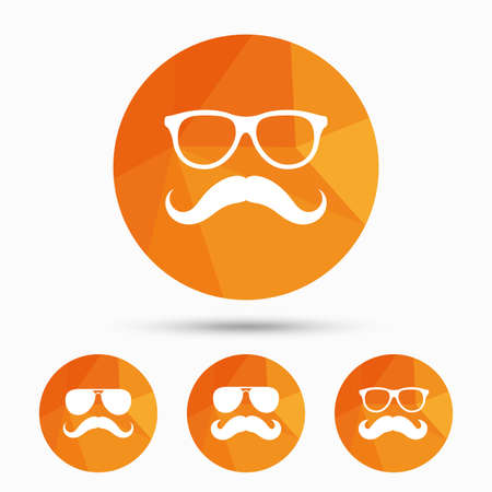 facial hair: Mustache and Glasses icons. Hipster symbols. Facial hair signs. Triangular low poly buttons with shadow. Vector