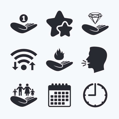 head protection: Helping hands icons. Financial money savings, family life insurance symbols. Diamond brilliant sign. Fire protection. Wifi internet, favorite stars, calendar and clock. Talking head. Vector Illustration