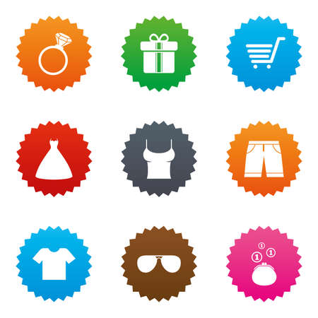 Clothes, accessories icons. T-shirt, sunglasses signs. Wedding dress and ring symbols. Stars label button with flat icons. Vector