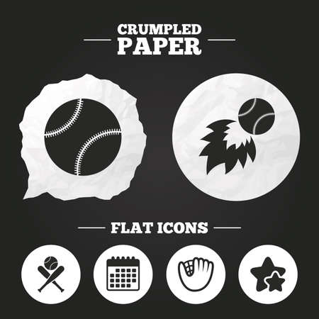 crumpled paper ball: Crumpled paper speech bubble. Baseball sport icons. Ball with glove and two crosswise bats signs. Fireball symbol. Paper button. Vector
