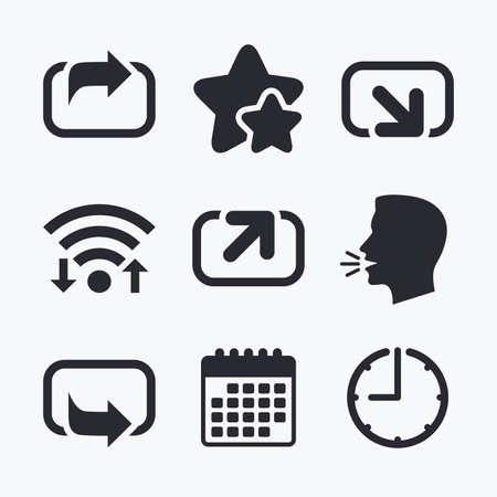 forward arrow: Action icons. Share symbols. Send forward arrow signs. Wifi internet, favorite stars, calendar and clock. Talking head. Vector