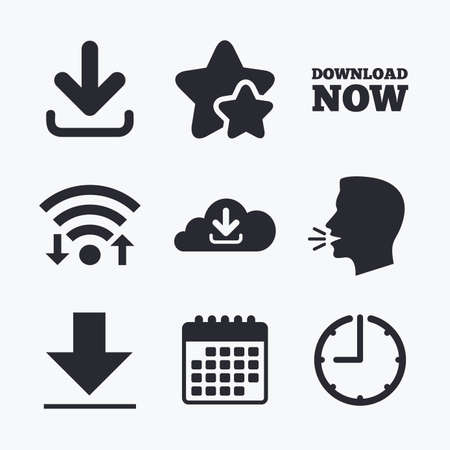 ftp servers: Download now icon. Upload from cloud symbols. Receive data from a remote storage signs. Wifi internet, favorite stars, calendar and clock. Talking head. Vector Illustration