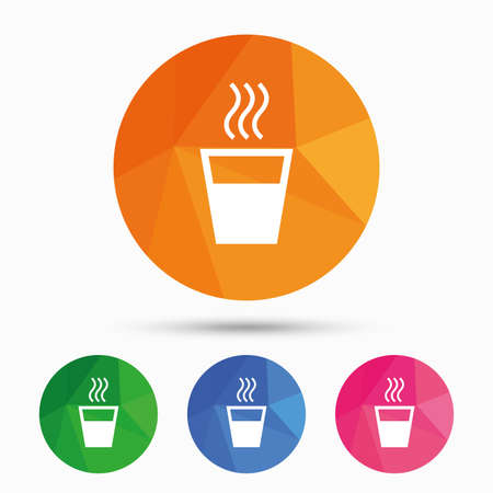 evaporation: Hot water sign icon. Hot drink glass symbol. Triangular low poly button with flat icon. Vector