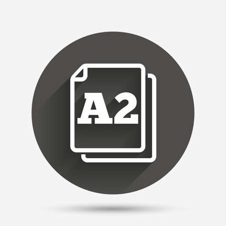 a2: Paper size A2 standard icon. File document symbol. Circle flat button with shadow. Vector Illustration