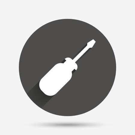 Icône de signe d'outil de tournevis. Fixez-le symbole. Signe de réparation. Bouton plat cercle avec ombre. Vecteur