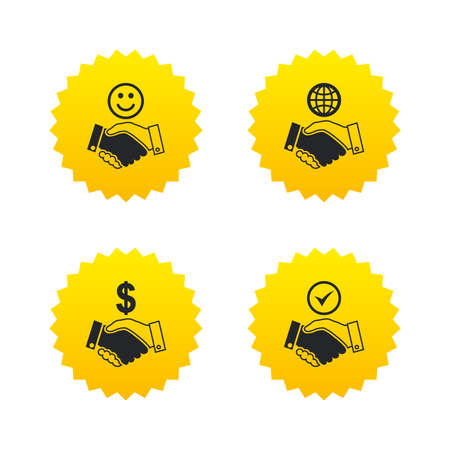 Handshake icons. World, Smile happy face and house building symbol. Dollar cash money. Amicable agreement. Yellow stars labels with flat icons. Vector Illustration