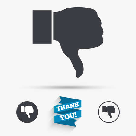 Dislike sign icon. Thumb down sign. Hand finger down symbol. Flat icons. Buttons with icons. Thank you ribbon. Vector Illustration
