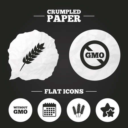 genetically modified crops: Crumpled paper speech bubble. Agricultural icons. Gluten free or No gluten signs. Without Genetically modified food symbols. Paper button. Vector