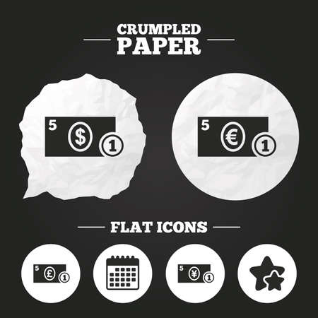 paper currency: Crumpled paper speech bubble. Businessman case icons. Dollar, yen, euro and pound currency sign symbols. Paper button. Vector Illustration
