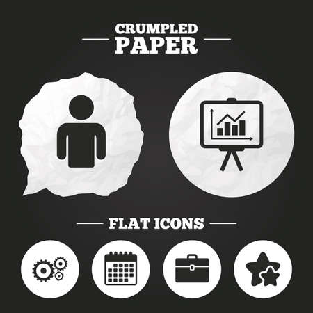 paper case: Crumpled paper speech bubble. Business icons. Human silhouette and presentation board with charts signs. Case and gear symbols. Paper button. Vector Illustration