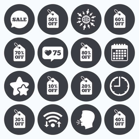 head tag: Calendar, wifi and clock symbols. Like counter, stars symbols. Sale discounts icons. Special offer signs. Shopping price tag symbols. Talking head, go to web symbols. Vector