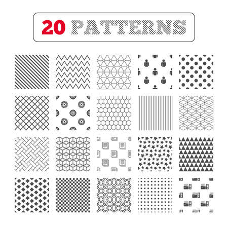auditing: Ornament patterns, diagonal stripes and stars. Accounting workflow icons. Human silhouette, cogwheel gear and documents folders signs symbols. Geometric textures. Vector