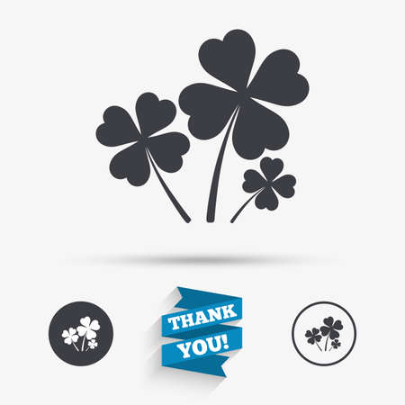 Clovers with four leaves sign icon. Saint Patrick symbol. Flat icons. Buttons with icons. Thank you ribbon. Vector Illustration