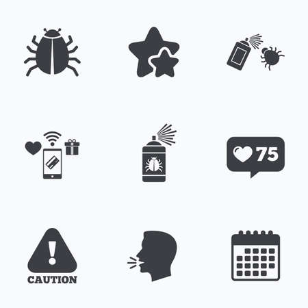 insanitary: Bug disinfection icons. Caution attention symbol. Insect fumigation spray sign. Flat talking head, calendar icons. Stars, like counter icons. Vector