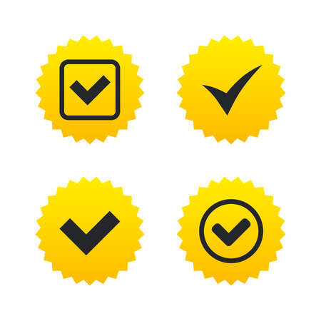 Check icons. Checkbox confirm circle sign symbols. Yellow stars labels with flat icons. Vector Illustration