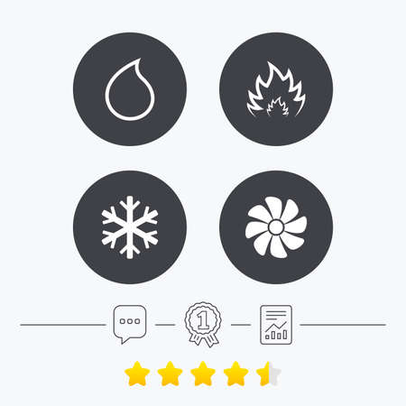 water supply: HVAC icons. Heating, ventilating and air conditioning symbols. Water supply. Climate control technology signs. Chat, award medal and report linear icons. Star vote ranking. Vector