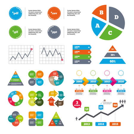 csv: Data pie chart and graphs. Document icons. File extensions symbols. PDF, GIF, CSV and PPT presentation signs. Presentations diagrams. Vector