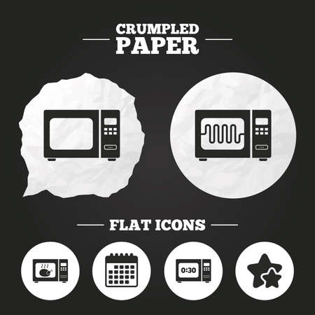 microwave stove: Crumpled paper speech bubble. Microwave oven icons. Cook in electric stove symbols. Grill chicken with timer signs. Paper button. Vector
