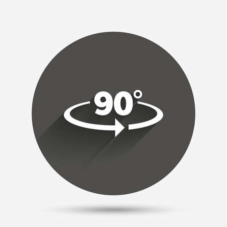 angle: Angle 90 degrees sign icon. Geometry math symbol. Right angle. Circle flat button with shadow. Vector
