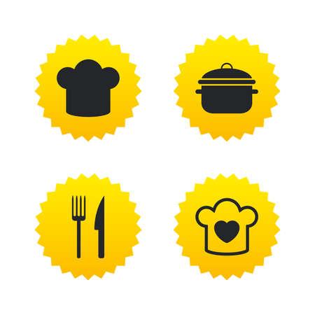 Chief hat and cooking pan icons. Fork and knife signs. Boil or stew food symbols. Yellow stars labels with flat icons. Vector