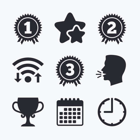 second prize: First, second and third place icons. Award medals sign symbols. Prize cup for winner. Wifi internet, favorite stars, calendar and clock. Talking head. Vector Illustration