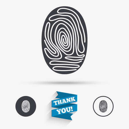 fingermark: Fingerprint sign icon. Identification or authentication symbol. Flat icons. Buttons with icons. Thank you ribbon. Vector Illustration