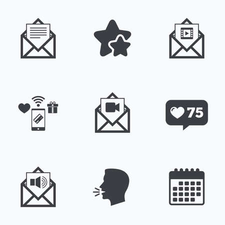 voice mail: Mail envelope icons. Message document symbols. Video and Audio voice message signs. Flat talking head, calendar icons. Stars, like counter icons. Vector Illustration