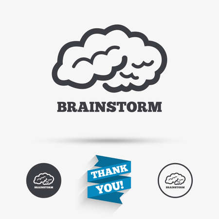 Brainstorm sign icon. Human think intelligent smart mind. Flat icons. Buttons with icons. Thank you ribbon. Vector Çizim