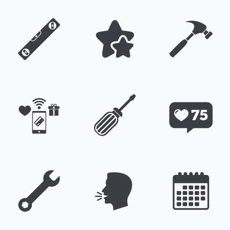 hammer head: Screwdriver and wrench key tool icons. Bubble level and hammer sign symbols. Flat talking head, calendar icons. Stars, like counter icons. Vector