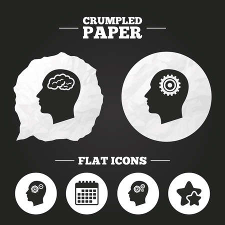 head paper: Crumpled paper speech bubble. Head with brain icon. Male human think symbols. Cogwheel gears signs. Paper button. Vector