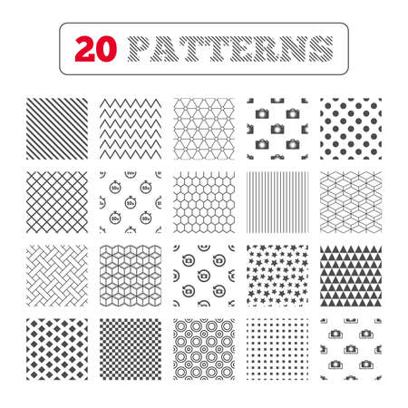 seconds: Ornament patterns, diagonal stripes and stars. Photo camera icon. Flip turn or refresh symbols. Stopwatch timer 10 seconds sign. Geometric textures. Vector