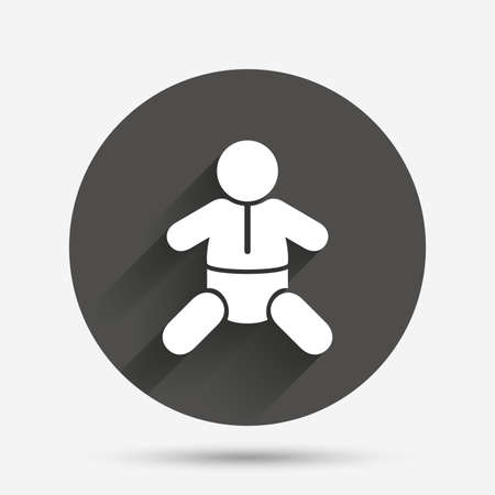 baby toilet: Baby infant sign icon. Toddler boy with diapers symbol. Child WC toilet. Circle flat button with shadow. Vector Illustration
