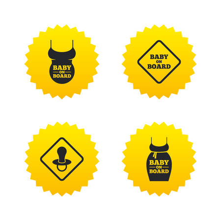 big belly: Baby on board icons. Infant caution signs. Child pacifier nipple. Pregnant woman dress with big belly. Yellow stars labels with flat icons. Vector Illustration