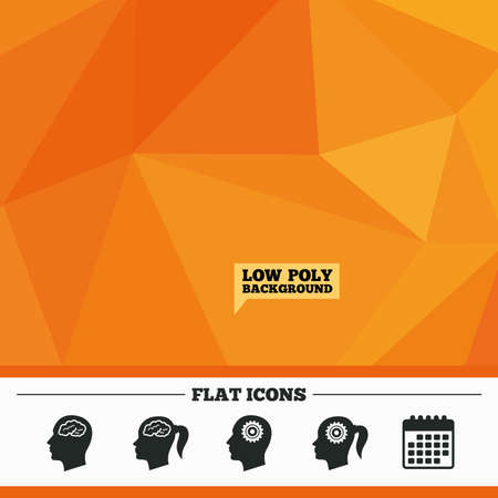 pigtail: Triangular low poly orange background. Head with brain icon. Male and female human think symbols. Cogwheel gears signs. Woman with pigtail. Calendar flat icon. Vector