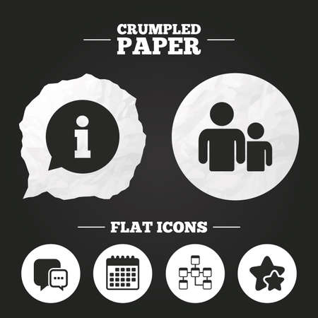 mysql: Crumpled paper speech bubble. Information sign. Group of people and database symbols. Chat speech bubbles sign. Communication icons. Paper button. Vector