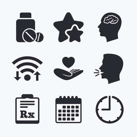 prescription bottle: Medicine icons. Medical tablets bottle, head with brain, prescription Rx signs. Pharmacy or medicine symbol. Hand holds heart. Wifi internet, favorite stars, calendar and clock. Talking head. Vector Illustration