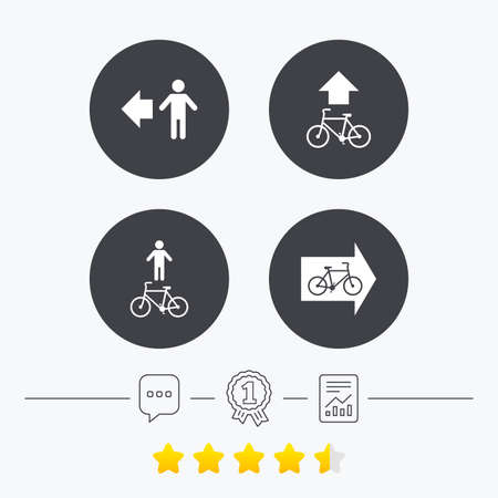 star path: Pedestrian road icon. Bicycle path trail sign. Cycle path. Arrow symbol. Chat, award medal and report linear icons. Star vote ranking. Vector Illustration